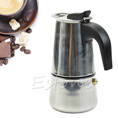 Hunulu Stainless Steel 2-Cup Latte Moka Espresso Pot Top Percolator Stove Coffee Maker