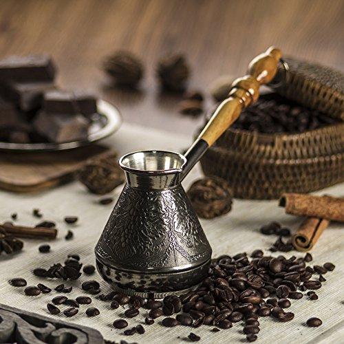 Greek Turkish Coffee Pot - Handmade Elegant Patterns with Grapes and Greek Key Design