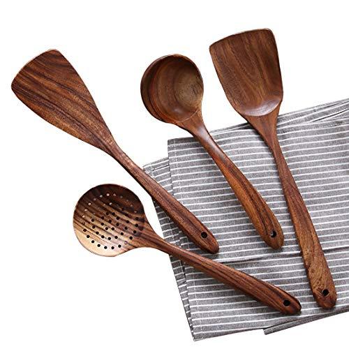 Wooden Cooking Utensils Kitchen Utensil Natural Teak Wood Kitchen Utensils Set - Nonstick Hard Wooden Spatula and Wooden Spoons