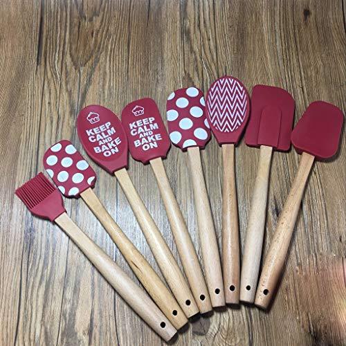 Heat Resistant Silicone Spatulas 8-piece silicone kitchenware set Silicone wooden handle butter scraper silicone cream spatula Color  Red