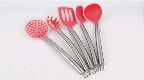 Salmanova 5pcs Per Set Hot Resistance Silicone Kitchenware Sets Food Grade Soup Ladle Noodle Rake Turner Free Shipping