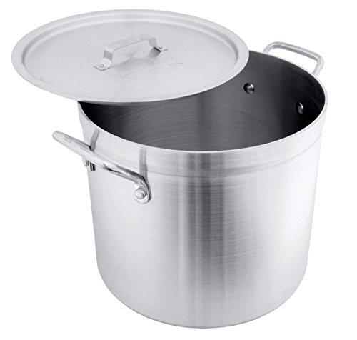 Crestware POT20R Aluminum Stock Pot with Lid 20 quart Silver