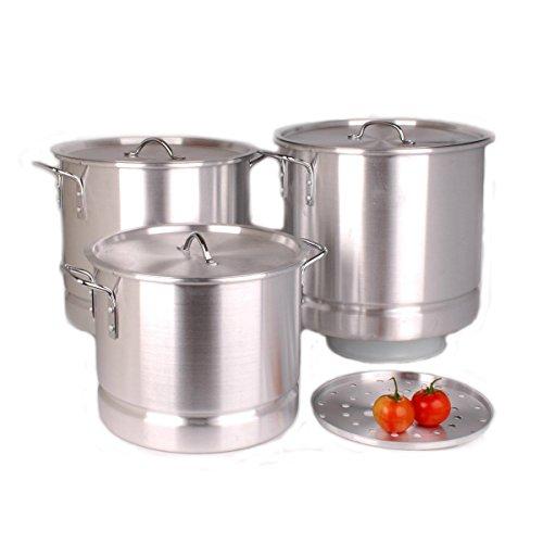 Uniware Professional Aluminum Stock Pot With Steamer Set of 3 64 QT 84 QT 100 QT