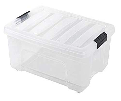 IRIS 12 Quart Stack Pull Box Clear