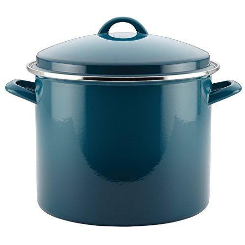 Rachael Ray 46326 Enamel on Steel Stock PotStockpot with Lid 12 Quart Marine Blue