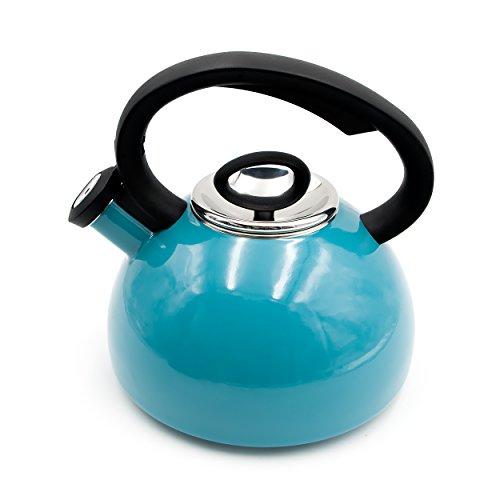 Aidea Enameled Whistling Hot Water Kettle Tea Kettle Tea Pot 2 Quart Turquoise AL-TK-T