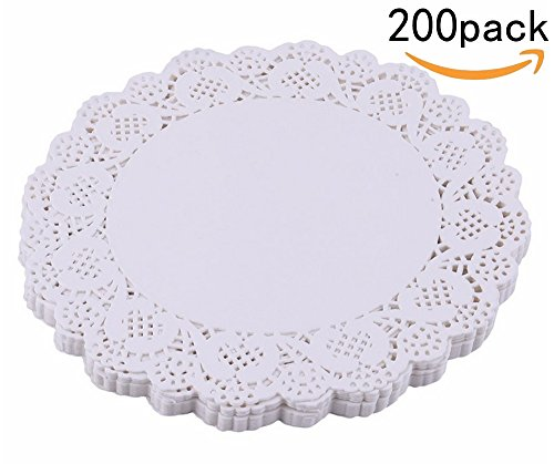 JKLcom 85inch Lace Paper Doilies Round Cake Packaging Paper Pad Wedding Decoration200 Pack