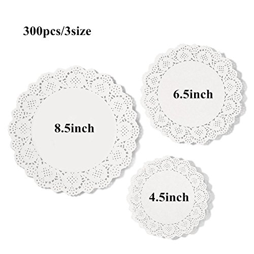 Teemojiang 300 Pieces White Lace Paper Doily Cake Packaging Paper Pad45inch 65 Inch 85 Inch for a Tea Party or Birthday or Wedding Tableware Decoration