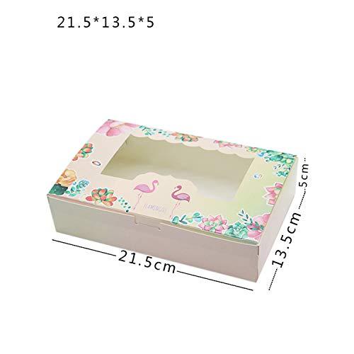 1020 Pcs Kraft Paper Box Window Party Kids Birthday Flamingo Gift Paper Boxes Food Packaging Candy Wedding Cardboard Cake Box215x135x50mm10 PCS