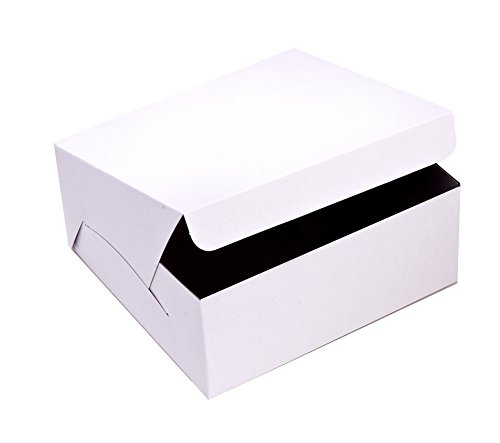 SafePro 773 7x7x3-Inch Cardboard Cake Boxes Take Out Disposable Paper Cake Pie Containers Wholesale White Bakery Box 50