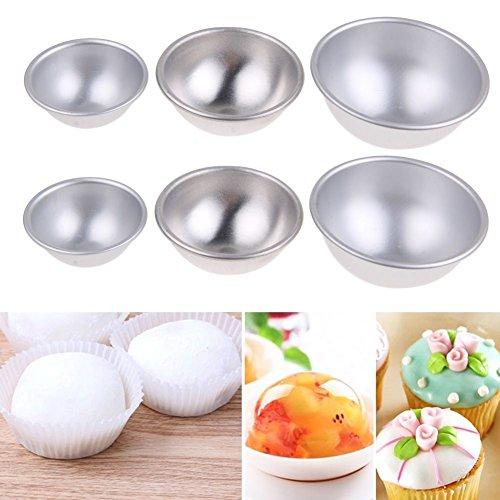 Hi-Pro Aluminum Ball Sphere Bath Bomb Mold Cake Pan Baking Pastry Mould DIY Cake 6 2 5525cm