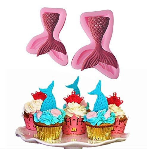 Emoyi 2Pcs Mermaid Tail Silicone Jelly Sugar Chocolate Fondant Molds LargeSmall