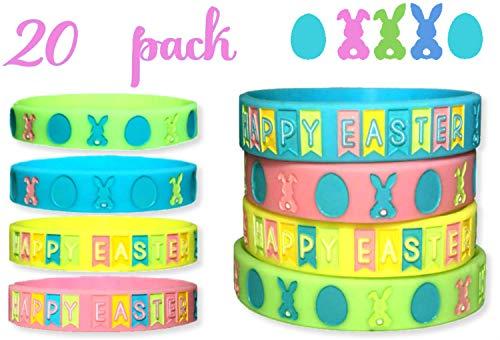 A- Easter Wristbands 20 pcs Party Favors for Basket Stuffer Easter Favors Gift Treasure Box Teacher TreatsSize Adult -Kids Easter Kids