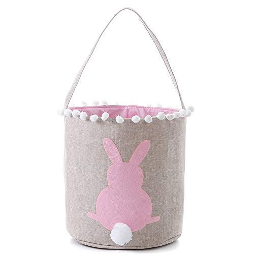 E-FirstFeeling Easter Basket Easter Bunny Bag for Kids Easter Egg Hunt Bag Candy Basket Gifts Toys Bucket Tote Pink
