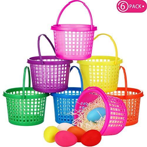 Easter Eggs Basket Multi-color Easter Plastic Basket Easter Hunt Basket Great for Easter Egg Hunts Goodies Party Favor Supplies 6 Pieces