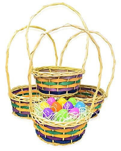 Empty Easter Egg Baskets Multicolor Round Shape Basket for Easter Egg Hunt Pack of 5