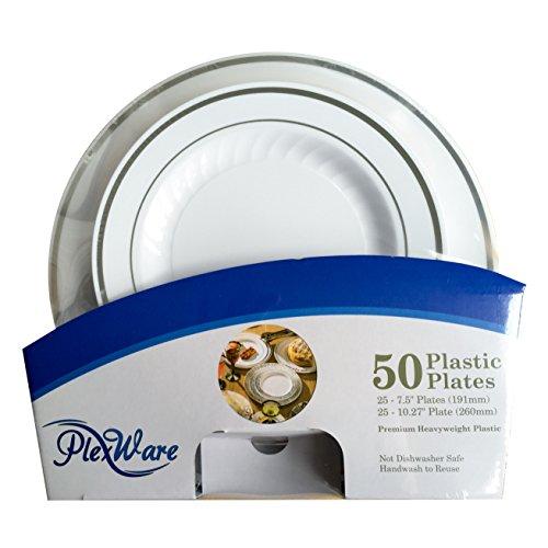 Plexware Plastic Plates Silver Rim with Ridges 25-75 25-1027 50 Piece