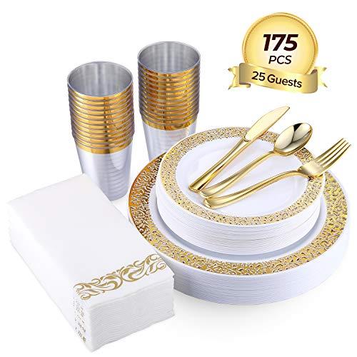 FOCUS LINE 175PCS Gold Disposable Dinnerware Sets for Party Wedding 25 Guests Dinner Plastic Plates Dessert Plates Plastic Silverware Set Cups Napkins