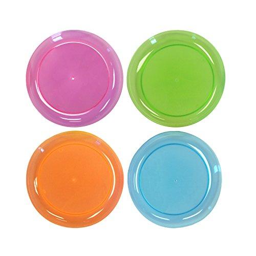 Party Essentials Hard Plastic 6-Inch Round PartyDessert Plates Assorted Neon 120-Count