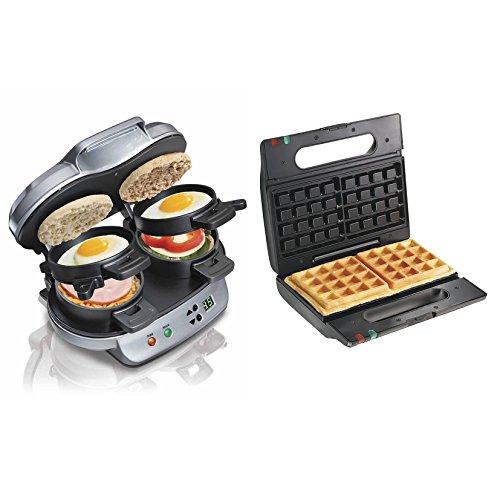 Hamilton Beach Breakfast Sandwich Maker  Proctor-Silex Belgian Waffle Maker