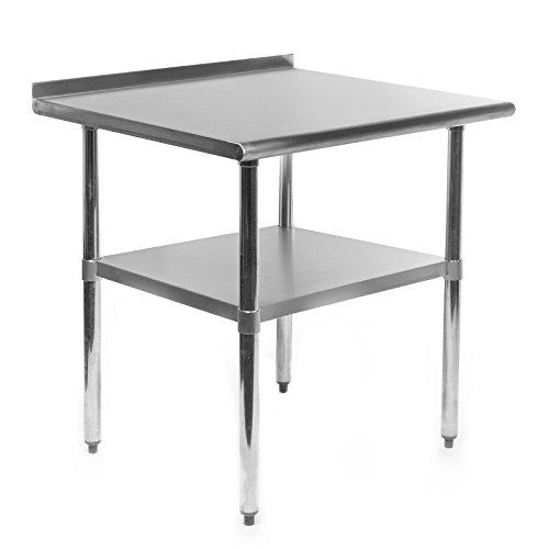 Gridmann Stainless Steel Commercial Kitchen Prep Work Table w Backsplash - 30 x 24