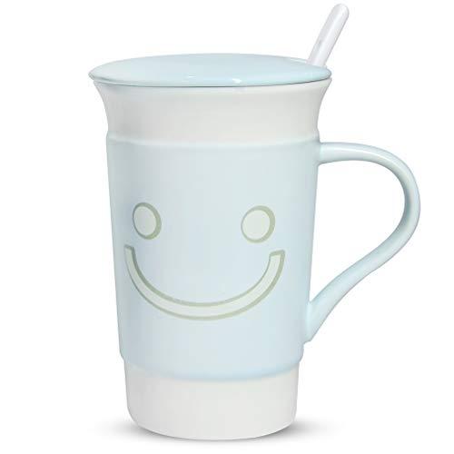 Coffee Mug Ceramic Expression Coffee Mugs with Spoon and Lid Coffee Tea Mug Set Gift for Friends Sisters Mom Dad Women Men 14oz-Blue Mug