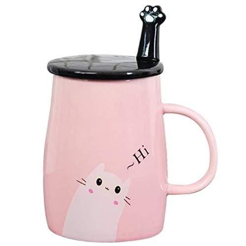 JANTONOR Pink Cat Mug Cute Cat Ceramic Coffee Mug with Spoon and Lid Novelty Coffee Mug Gift for Kitty Lovers
