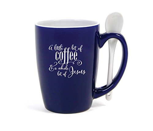 Little Bit of Coffee Whole Lot of Jesus Cobalt Blue 15 Ounce Ceramic Coffee Mug with Spoon