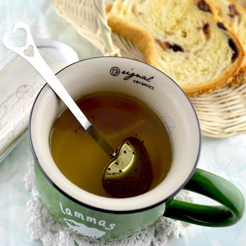 OLIVE US-Heart Shaped Tea Infuser Spoon Strainer Stainless Steel Steeper Handle Shower