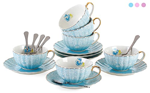 Jusalpha Porcelain Tea Cup and Saucer Coffee Cup Set with Saucer and Spoon FD-TCS04 Set of 6 Blue