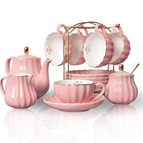 Porcelain Tea Sets British Royal Series 8 OZ Cups& Saucer Service for 6 with Teapot Sugar Bowl Cream Pitcher Teaspoons and tea strainer for TeaCoffee Pukka Home Young Pink