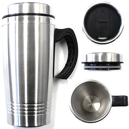 16OZ Double Wall Stainless Steel Coffee Cup wHandle Thermos Travel Mug Tumbler