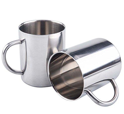 Bekith Stainless Steel 135 Oz Double Walled Coffee Beer Tea Mugs Water Cup Set of 2