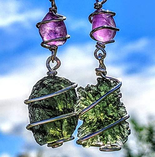 MOLDAVITE AURALITE 23 Necklace 19 Wire Wrap 925 Silver Genuine Metaphysical Reiki Amulet Synergy 12 Genuine Crystal Pendant Tektite Meteorite