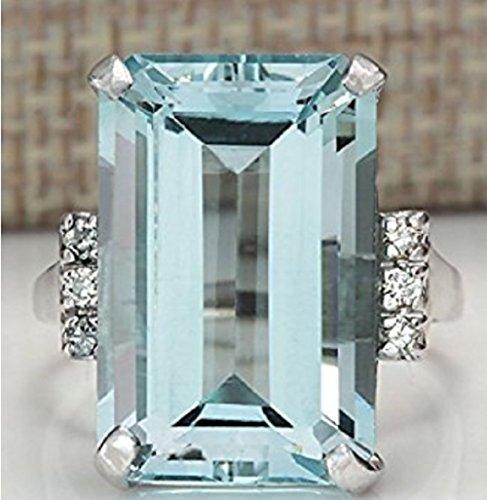 Zhiwen Vintage Fashion Women 925 Silver Aquamarine Gemstone Ring Engagement Wedding Jewelry Size 5-11 8