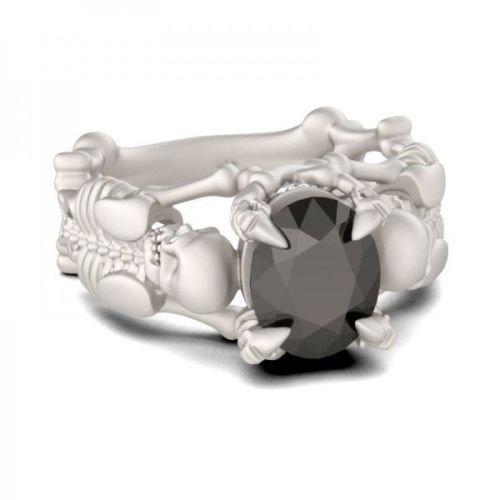 pimchanok shop Human Bone Skulls Women Men 925 Silver Black Sapphire Ring Wedding Size 6-10 6