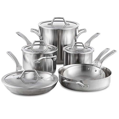 Calphalon Signature 10 Piece SetStainless Steel Cookware Silver
