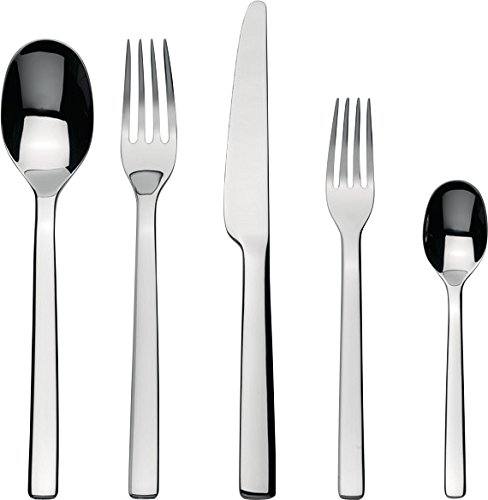Alessi Ovale Flatware Set Composed Of One Table Spoon Table Fork Table Knife Dessert Fork Tea Spoon in 1810 Stainless Steel Mirror Polished Silver