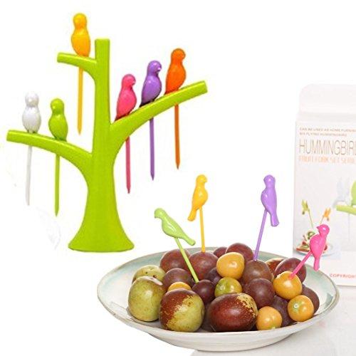 Kemilove 1 set 6 pcs Birdie Fruit Fork Birds On The Tree Dessert Cake Dinnerware Party Cocktail