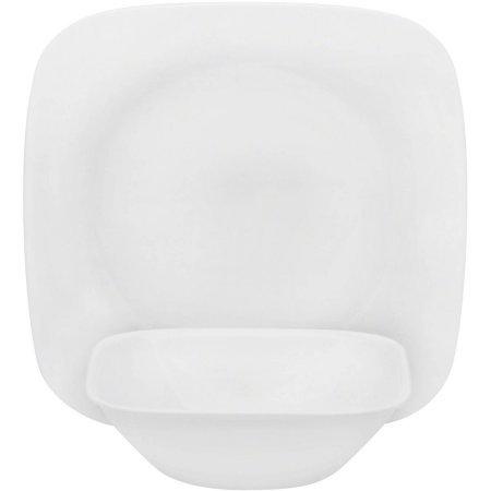 Corelle Square Pure White 16-Piece Dinnerware Lunch Set Service for 8