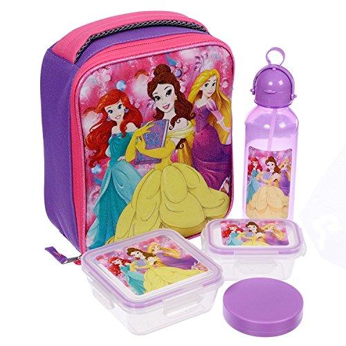 Disney Girls Princess Ariel Belle and Rapunzel 5 Piece Insulated Lunch Kit Set 10 Inch
