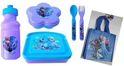 Disneys Frozen 7 Piece Lunch Set Includes FREE BONUS Frozen Mini Tote Bag - Featring Princess Elsa Princess Ana Olaf Kristoff Stev by Zak