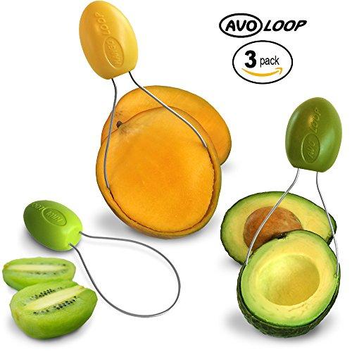 AvoLoop - Fast peel any fruit or soft vegetable with ease Avocado Slicer Peeler Pitter Scooper Mango Corer Kiwi Fruit Scoop Kitchern Tool EZ-clean 3 in 1 vegetable peeler set