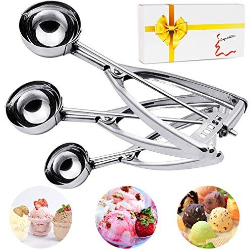 Ice Cream Scoop 3PCS Stainless Steel Trigger Cookie Scoop Melon Baller Baking Fruit Salad Scoop Spoon Kit