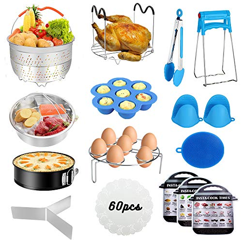 Accessories for Instant PotAccessories Compatible with 568Qt Instant Pot - 60 Pcs Cake Baking Papers2 Steamer BasketsNon-stick Springform PanEgg RackEgg Bites MoldKitchen TongDish Plate Clip
