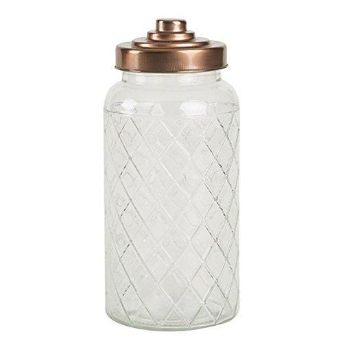 T&G Woodware Fat Lattice Glass Jar with Copper Finish Lid