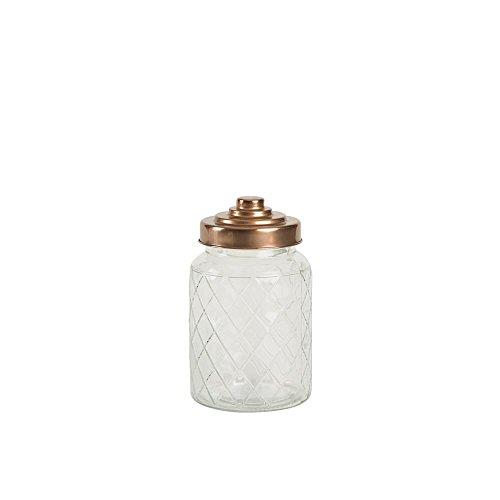 T&G Woodware Medium Lattice Glass Jar with Copper Finish Lid