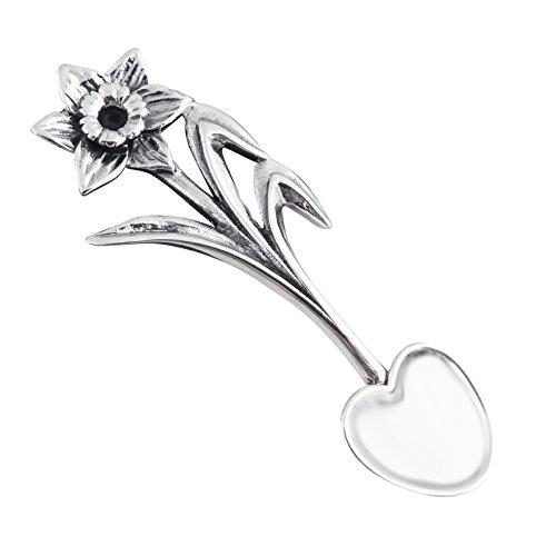 Sterling Silver Daffodil Flower Salt Spoon or Mustard Spoon