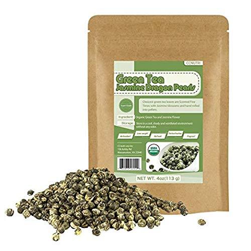 Organic Jasmine Dragon Pearls Green Tea Loose Leaf 4oz
