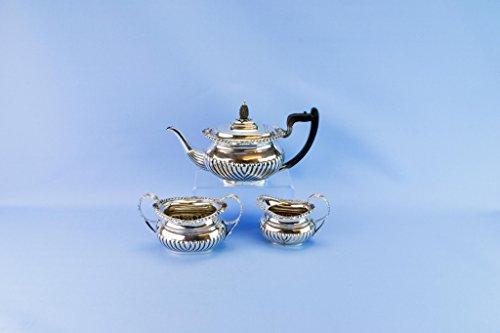 1901 Sterling Silver Tea Set Teapot Thomas Badbury Sons Antique English Edwardian